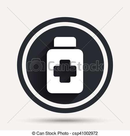 450x470 Drugs Sign Icon. Pack With Pills Symbol. Circle Flat Button With