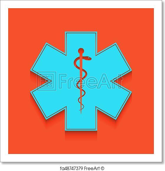 561x581 Free Art Print Of Medical Symbol Of The Emergency Or Star Of Life