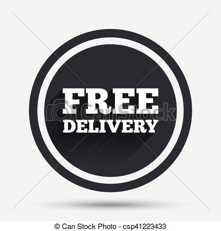 450x470 Free Delivery Sign Icon. Delivery Button. Circle Flat Button With