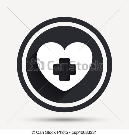 450x470 Medical Heart Sign Icon. Cross Symbol. Circle Flat Button With