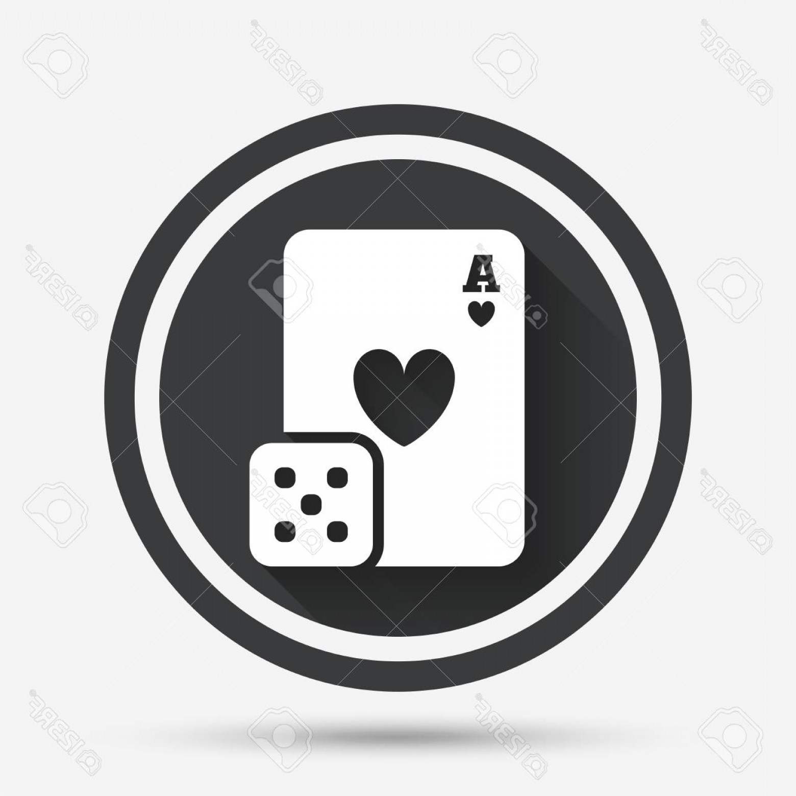 1560x1560 Photostock Vector Casino Sign Icon Playing Card With Dice Symbol