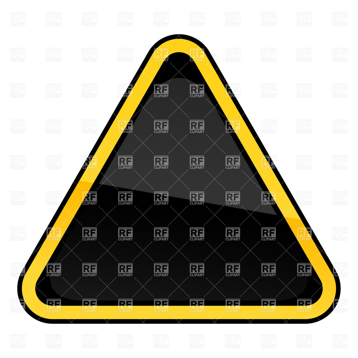 1200x1200 Black Blank Three Cornered Road Sign With Yellow Border Vector