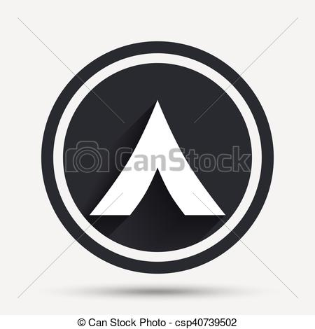 450x470 Tourist Tent Sign Icon. Camping Symbol. Circle Flat Button With