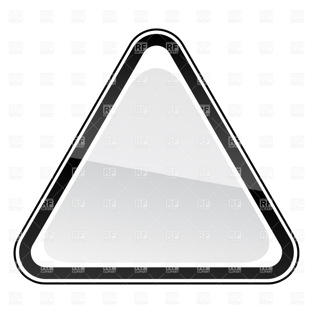 1200x1200 White Blank Three Cornered Road Sign With Black Border Vector