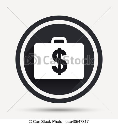 450x470 Case With Dollars Usd Sign. Briefcase Button. Case With Dollars