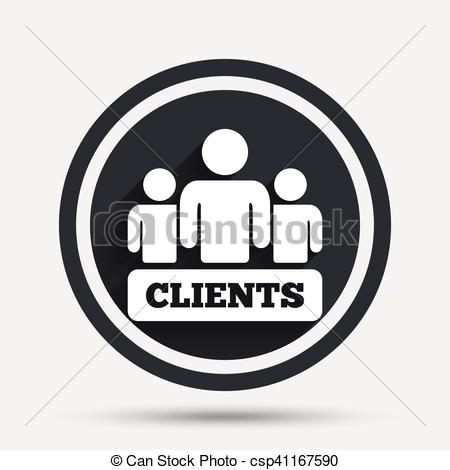 450x470 Clients Sign Icon. Group Of People Symbol. Circle Flat Button With