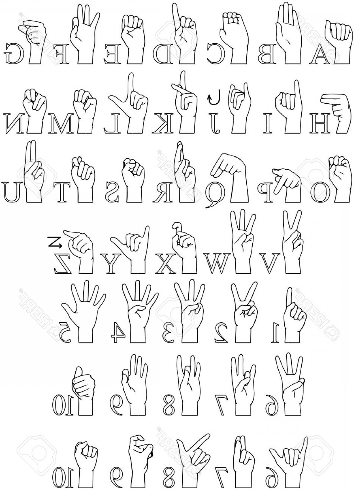 1128x1560 Photostock Vector Vector Illustrations Pack Of Sign Language Abc