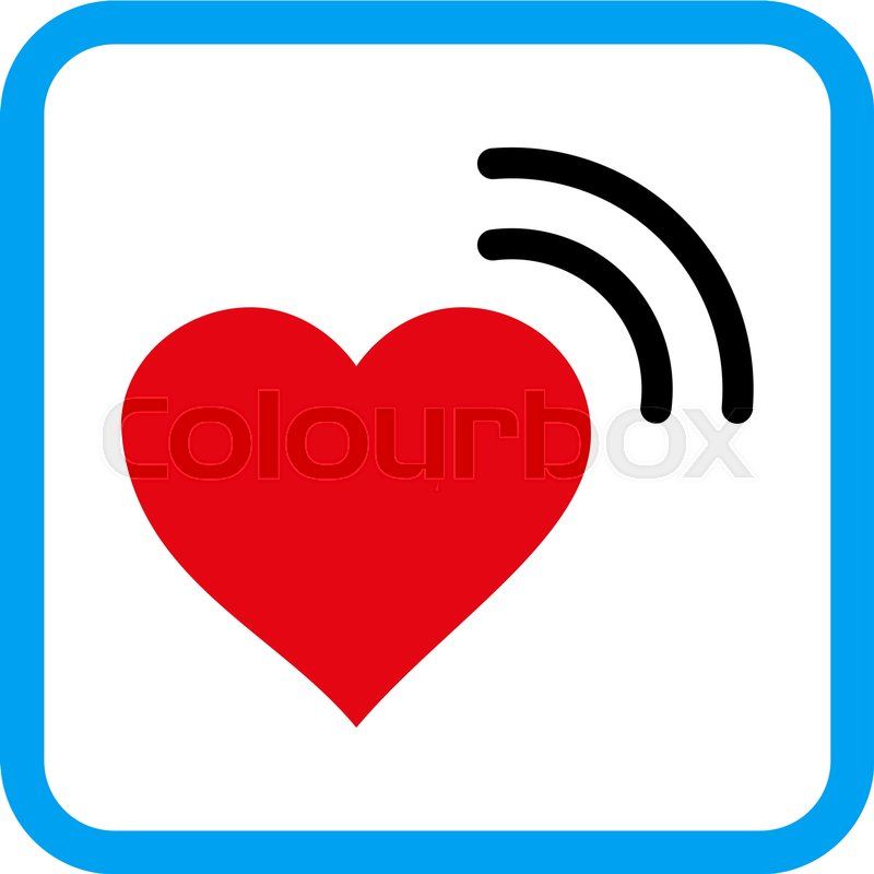 800x800 Heart Radio Signal Vector Icon. Image Style Is A Flat Pictogram