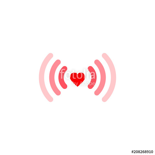 500x500 Heart Wifi. Vector Heart Connect Icon In Flat Style. Heart Signal