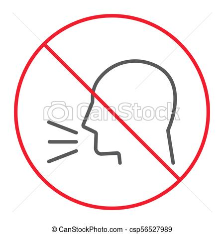 450x470 Keep Silence Thin Line Icon, Prohibition And Forbidden, No Sound