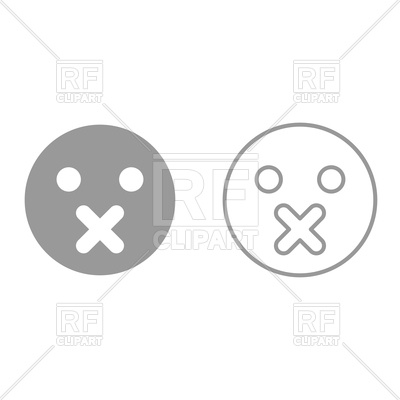 400x400 Silence Emoticon Grey Set Icon Vector Image Vector Artwork Of