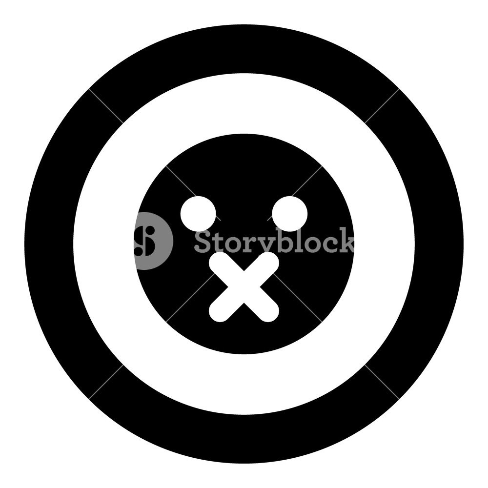 1000x1000 Silence Emoticon Icon Black Color In Circle Vector Illustration