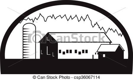 450x274 Farm Barn House Silo Black And White. Black And White Illustration