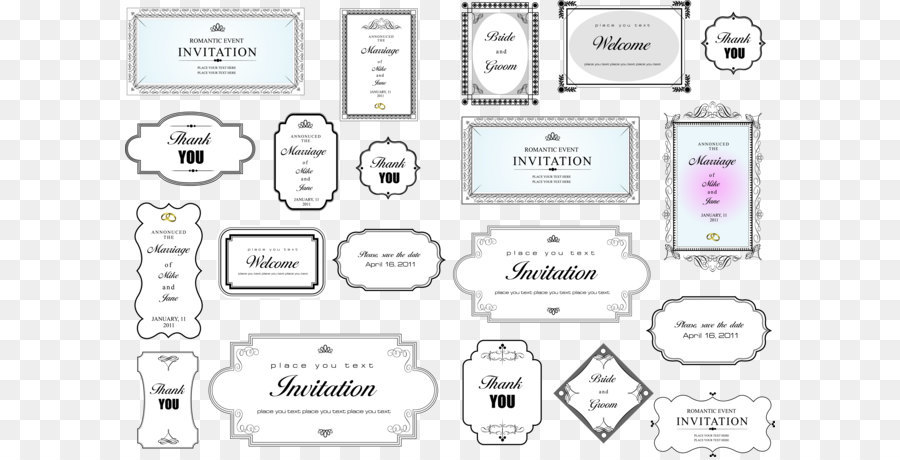 900x460 Simple Invitation Card Title Border Vector Png Download