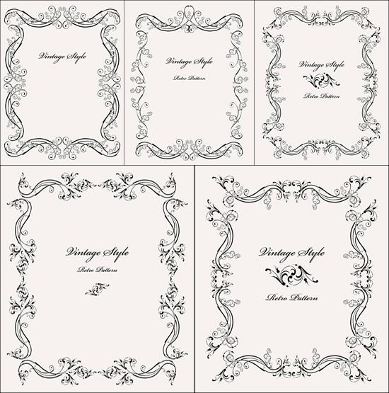 550x555 Simple Line Drawing Lace Border Vector [Eps]