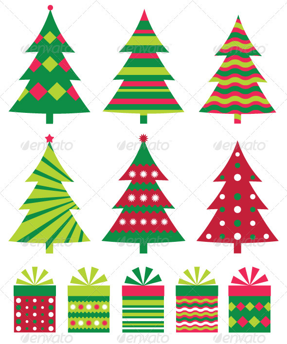 590x707 Christmas Trees Vector Collection. By Lattesmile Graphicriver