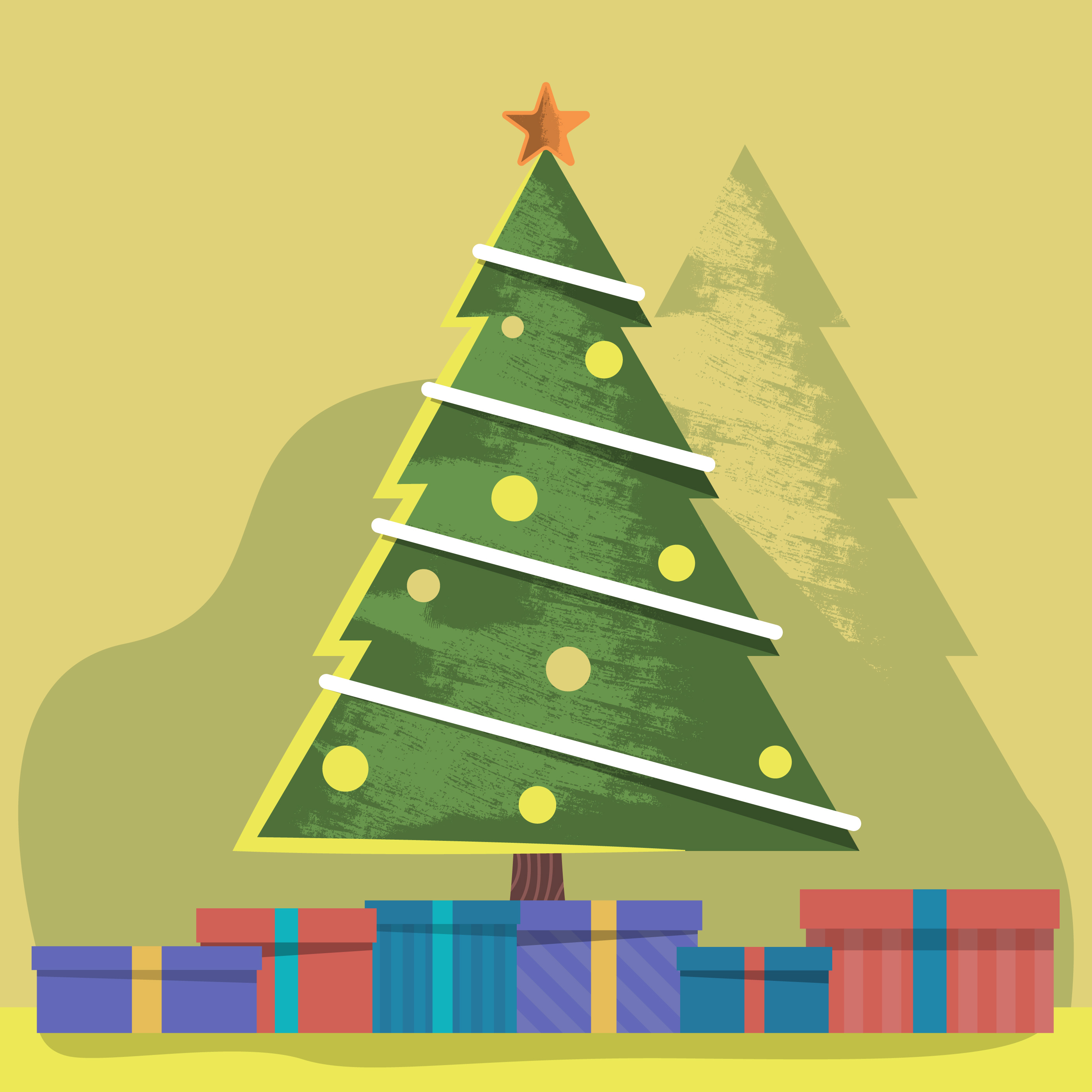 2800x2800 Decorated Christmas Tree And Presents Vector Illustration