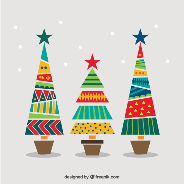 626x626 Geometric And Colorful Christmas Trees Vector Free Download