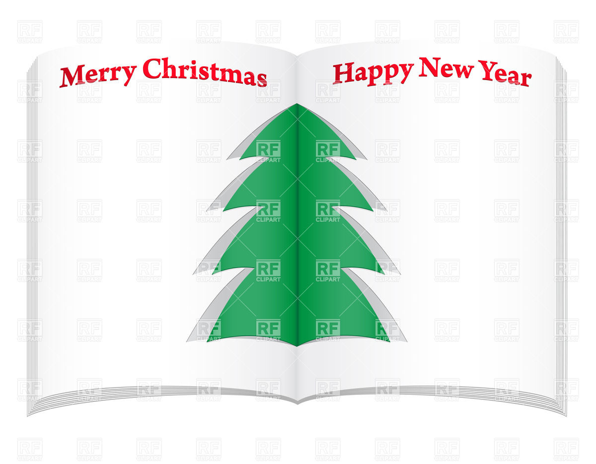 1200x933 Open Notebook With Simple Christmas Tree Vector Image Vector