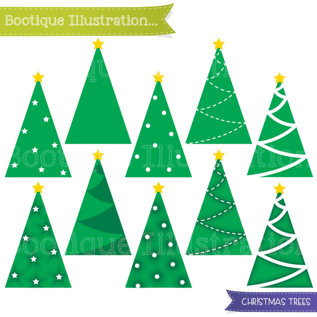 1200x1200 Simple Christmas Tree Clipart. Christmas Clipart Set Includes 10