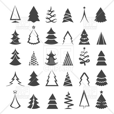 400x400 Simple Christmas Tree Icons Vector Image Vector Artwork Of