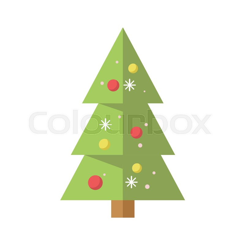 800x800 Simple Decorated Cartoon Christmas Pine Tree Vector Graphic