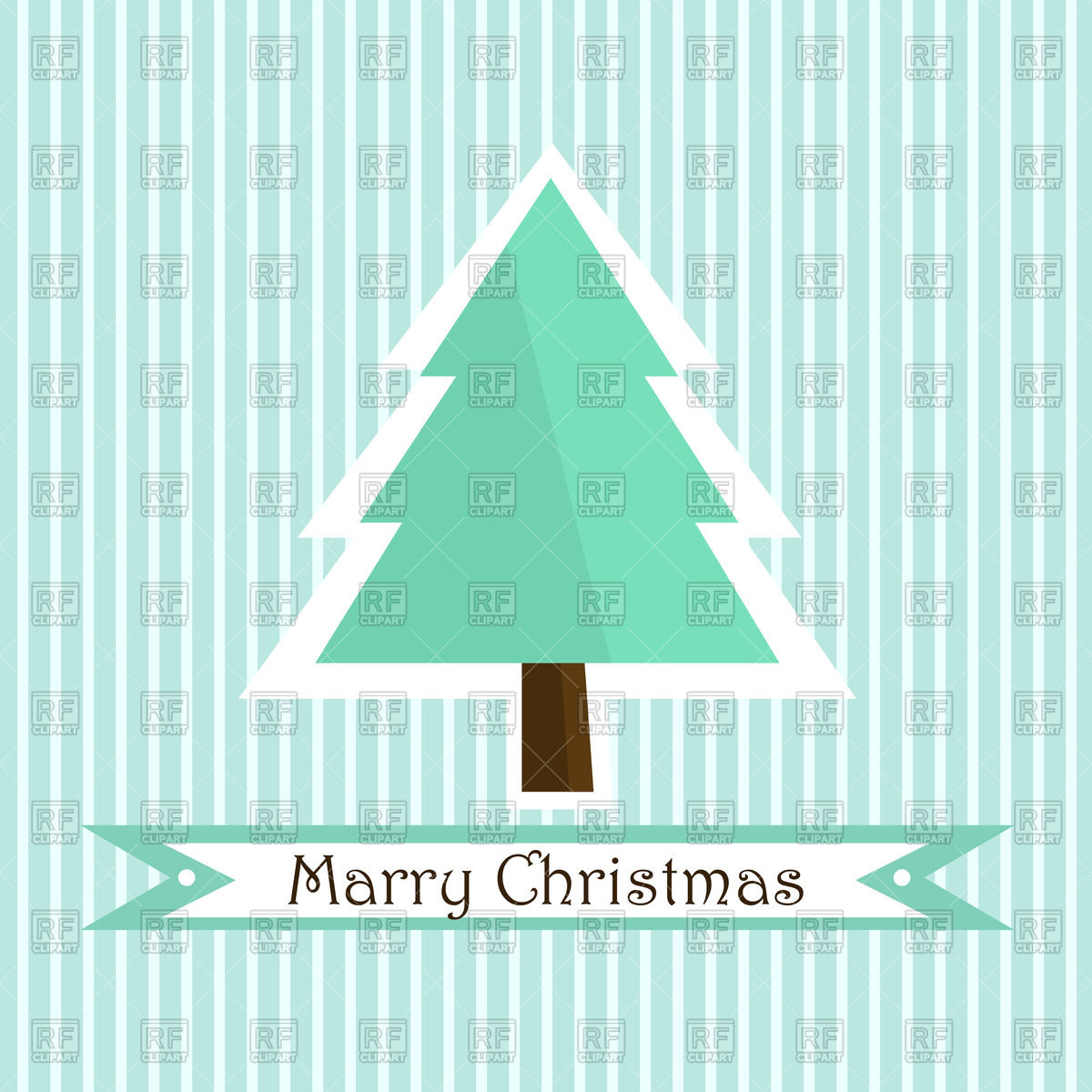1200x1200 Simple Christmas Tree And Banner On Striped Background Vector