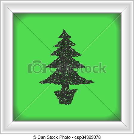 450x470 Simple Doodle Of A Christmas Tree. Simple Hand Drawn Doodle
