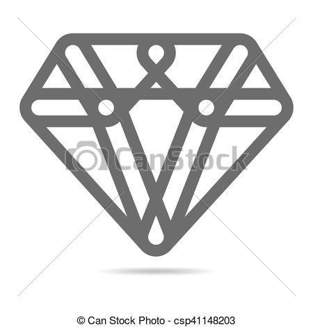 450x470 Diamond Icon. Vector Illustration. Simple Diamond Icon In Flat