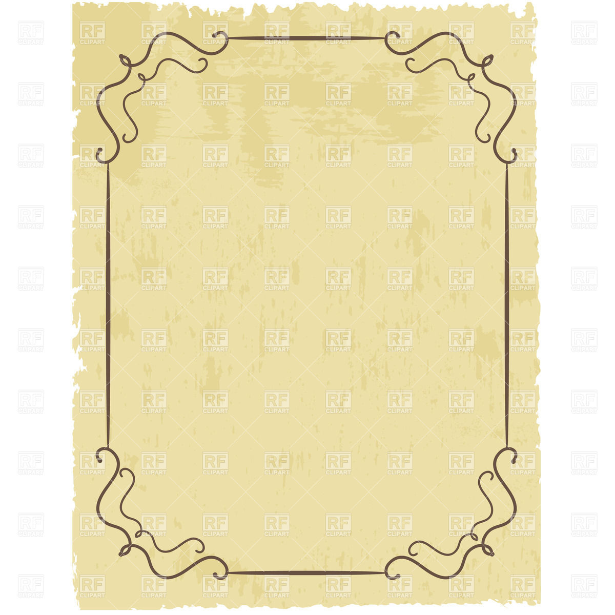 1200x1200 Vintage Simple Frame On Worn Sheet Of Lacerated Paper Vector Image