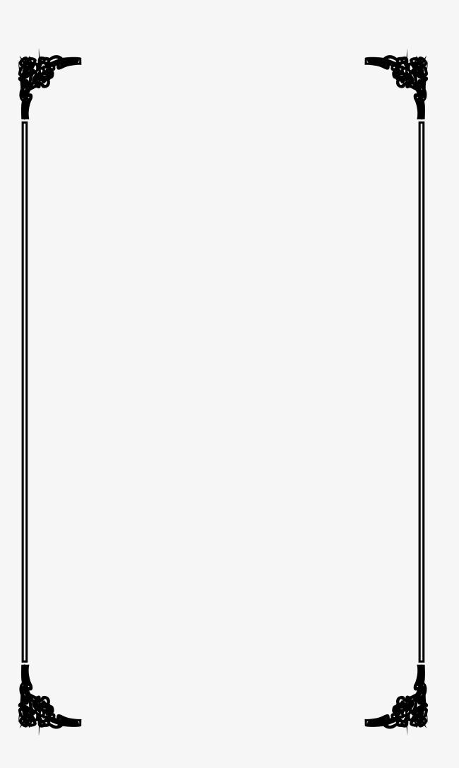 650x1087 Black Simple Stripe Frame Vector Material, Black Vector, Frame