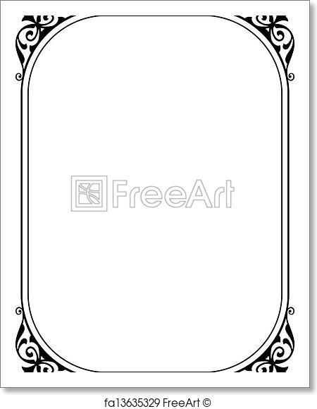 450x580 Free Art Print Of Simple Black Ornamental Decorative Frame. Vector