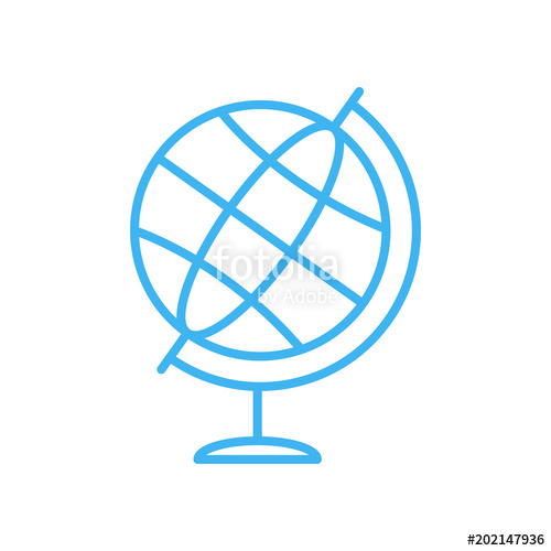 500x500 Simple Globe Icon. Blue Line Globe Vector Icon Stock Image And