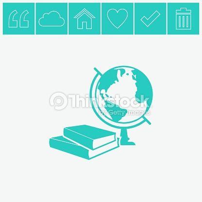 416x416 Vector Art Books And Globe Vector Icon. Education Symbol. Simple