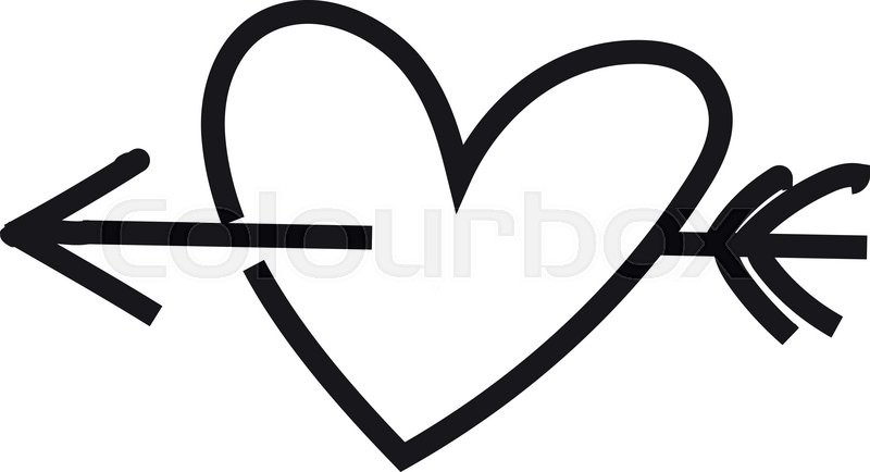 800x434 Heart. Sketch Heart. Heart And Arrow. Just Black And White Heart