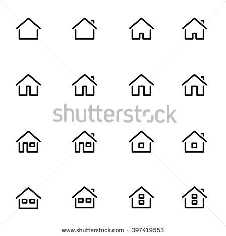 450x470 Set 1 Of Line Icons Representing House Vector Illustration. House