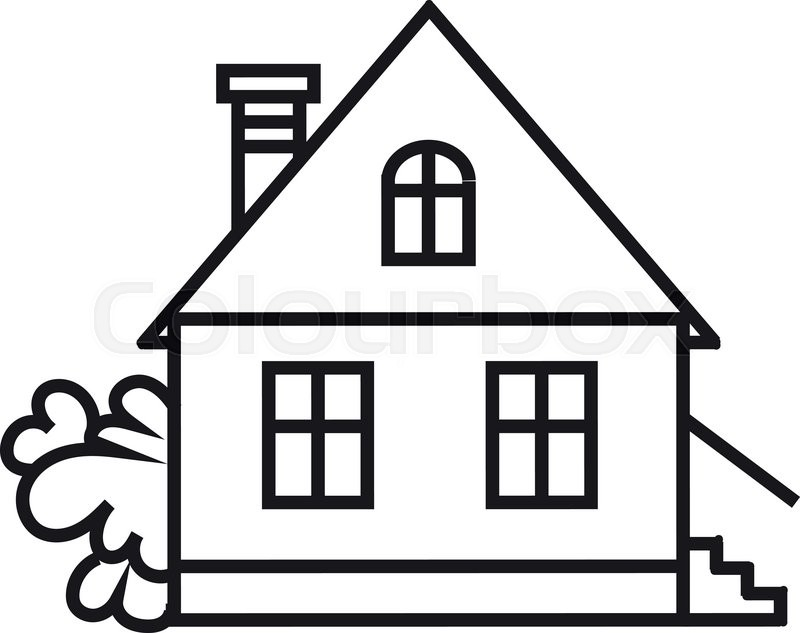 800x633 Simple House Icon. Vector Icon Of House. Black And White House