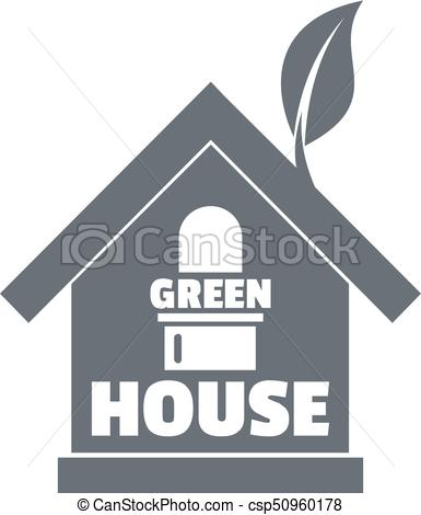 385x470 Green House Logo, Simple Gray Style. Green House Logo. Simple