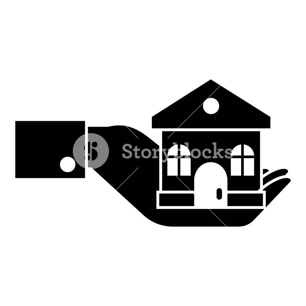 1000x1000 Hand Holding House Icon. Simple Illustration Of Hand Holding House