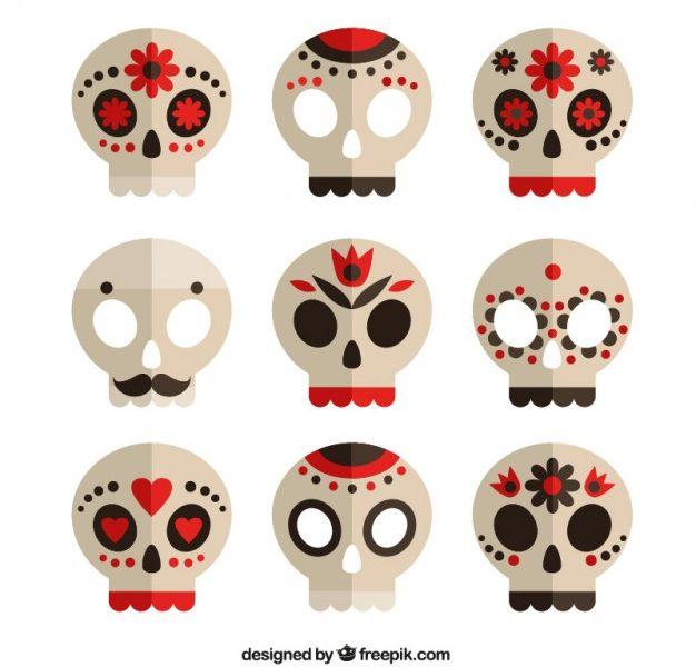 626x600 Simple Sugar Skull Collection Of Sugar Skulls Vector Premium