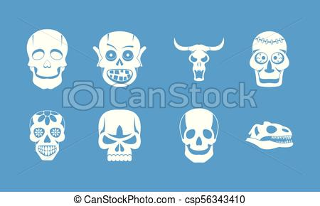 450x290 Skull Icon Blue Set Vector. Skull Icon Set. Simple Set Of Skull