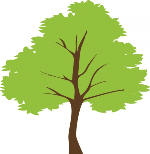 600x616 Simple Green Tree Vector Illustration