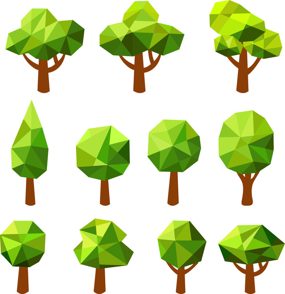 582x600 Simple Geometric Tree Set Free Vector In Adobe Illustrator Ai
