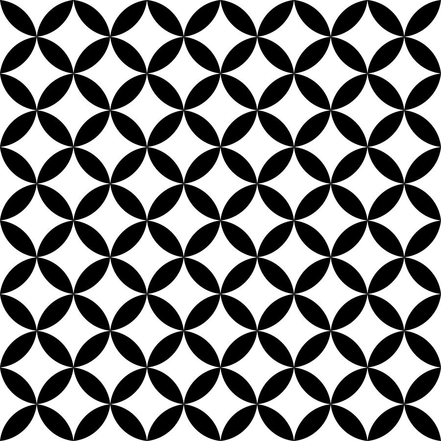 900x900 Black And White Overlapping Circles. Abstract Retro Design