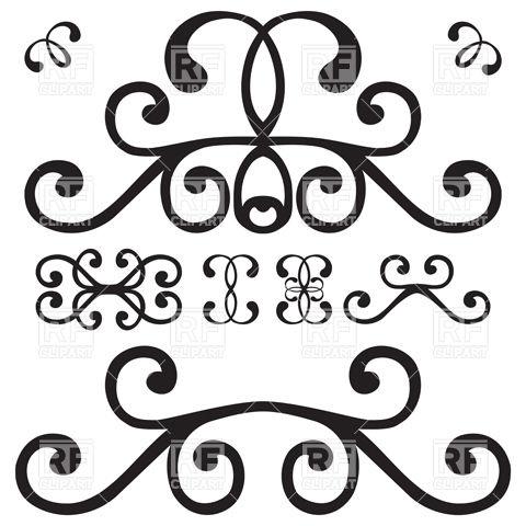 480x480 Simple Curly Vignette Vector Image Vector Artwork Of Design