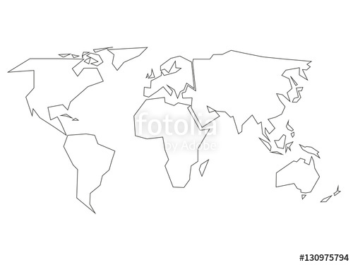 500x375 World Map Vector Simple New Simplified World As World Map Vector