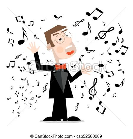 450x470 Man In Suit With Notes. Vector Singer Cartoon Isolated On White