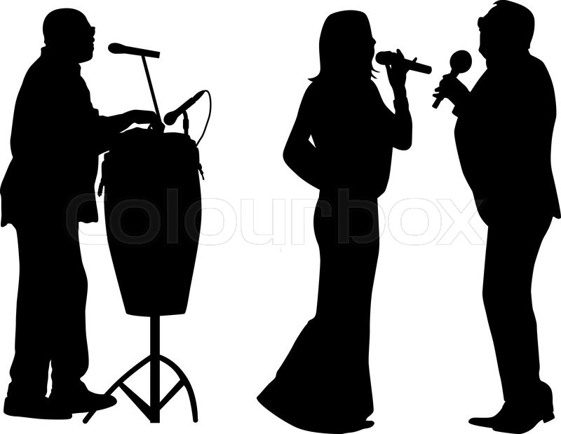 800x620 Man Singer Woman Singer And Drummer Silhouette Vector Stock
