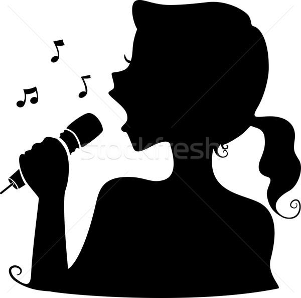 600x593 Singer Silhouette Vector Illustration Lenm ( 5067706) Stockfresh