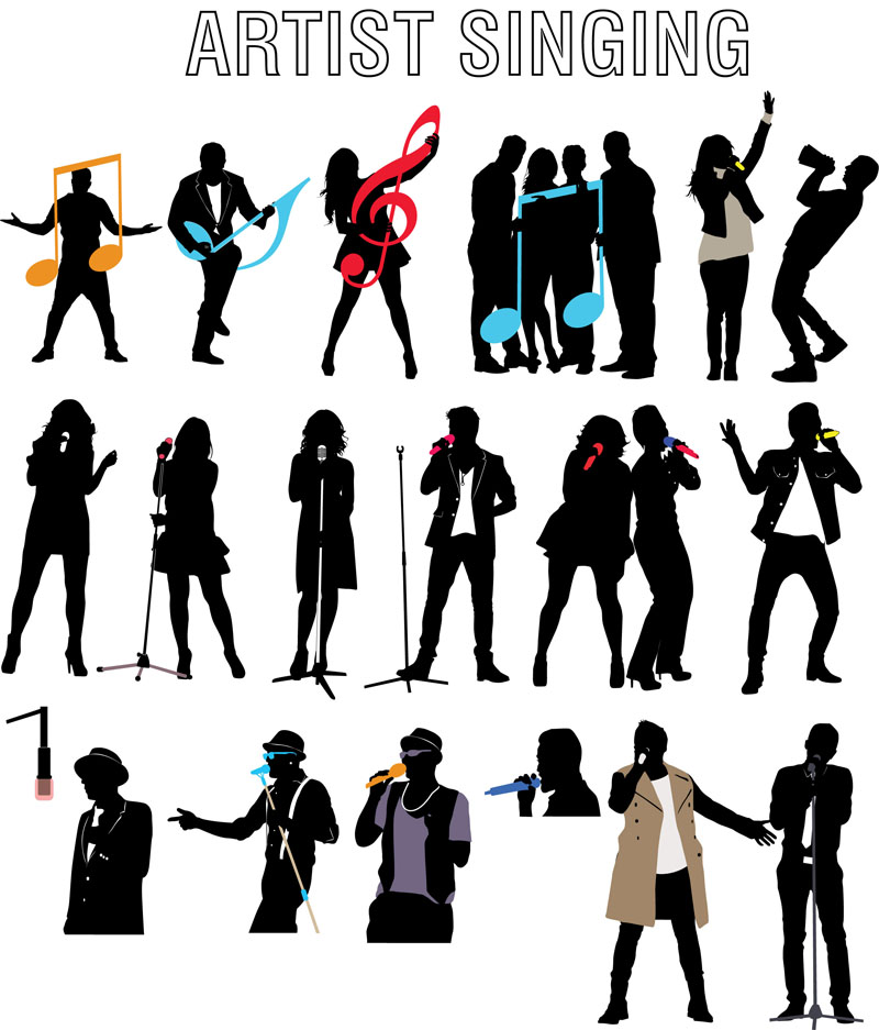 800x937 Singing Artists Vector Silhouettes
